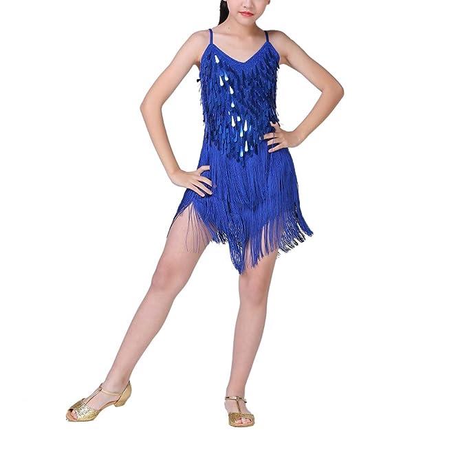 a4650258b3cb0 Loveble Kids Girls Sequin Latin Dance Dress Latin Tango Salsa Tassel Skirt  Latin Costume: Amazon.co.uk: Clothing