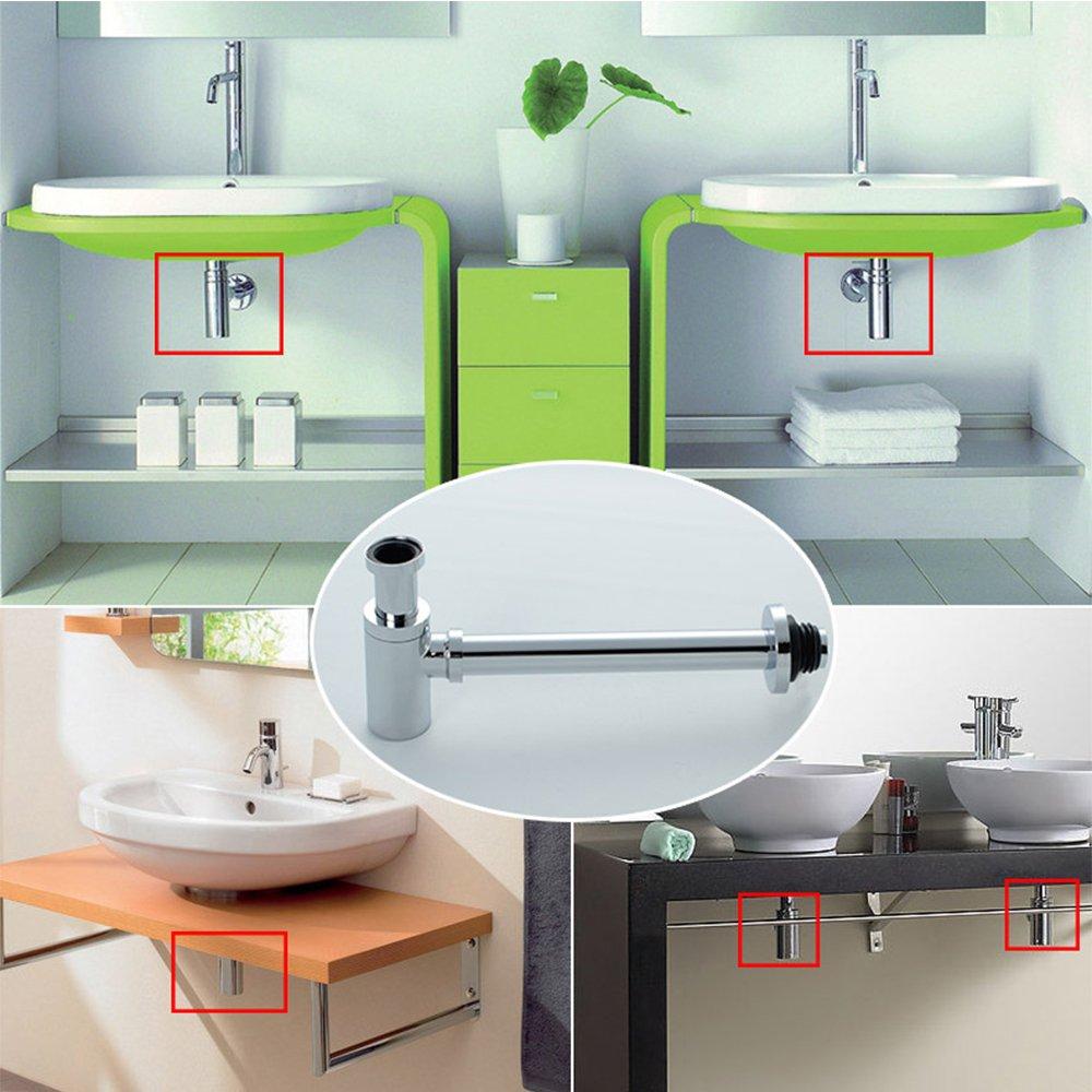 Bottle Trap OWOFAN Bathroom Vessel Sink Waste Drain P Trap, Brass ...