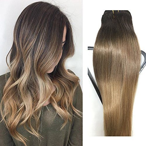 Clip in Hair Extensions Human Hair 22 inch Dark Brown with Light Brown Dip Dyed Ombre Balayage 120g Full Head Straight Soft Extension Clips (Ombre Dip)