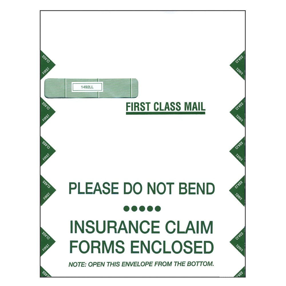 PDC Healthcare IE-L01 Insurance Envelope, Left Window, 9'' x 12-1/2'', White and Green (Pack of 500)