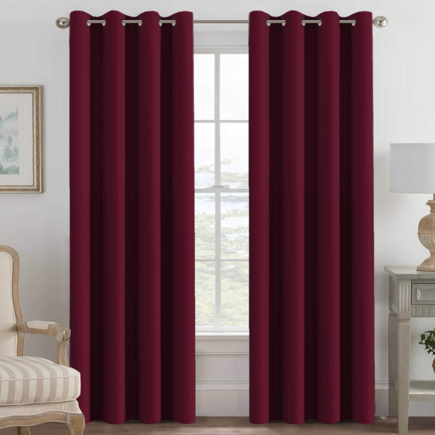 H.VERSAILTEX Blackout Curtains for Bedroom 84 Inches Length, Thermal Insulated Blackout Window Curtains for Living Room, Christmas Deals Curtain Panels, Antique Grommet - Burgundy Red, One Panel