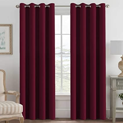 Light Blocking Blackout Curtains 96 Inches Long Window Treatment Thermal Insulated Grommet Energy Saving Curtains Drapes For Bedroom Living