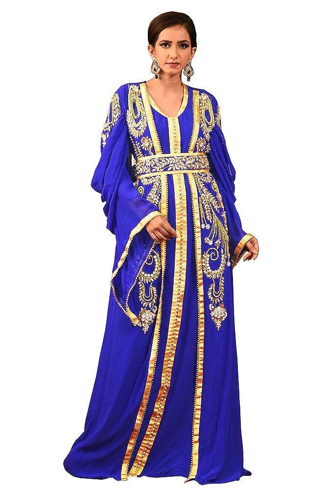 Kolkozy Fashion Women's Hand Beaded Morrocon Style Kaftan bluee