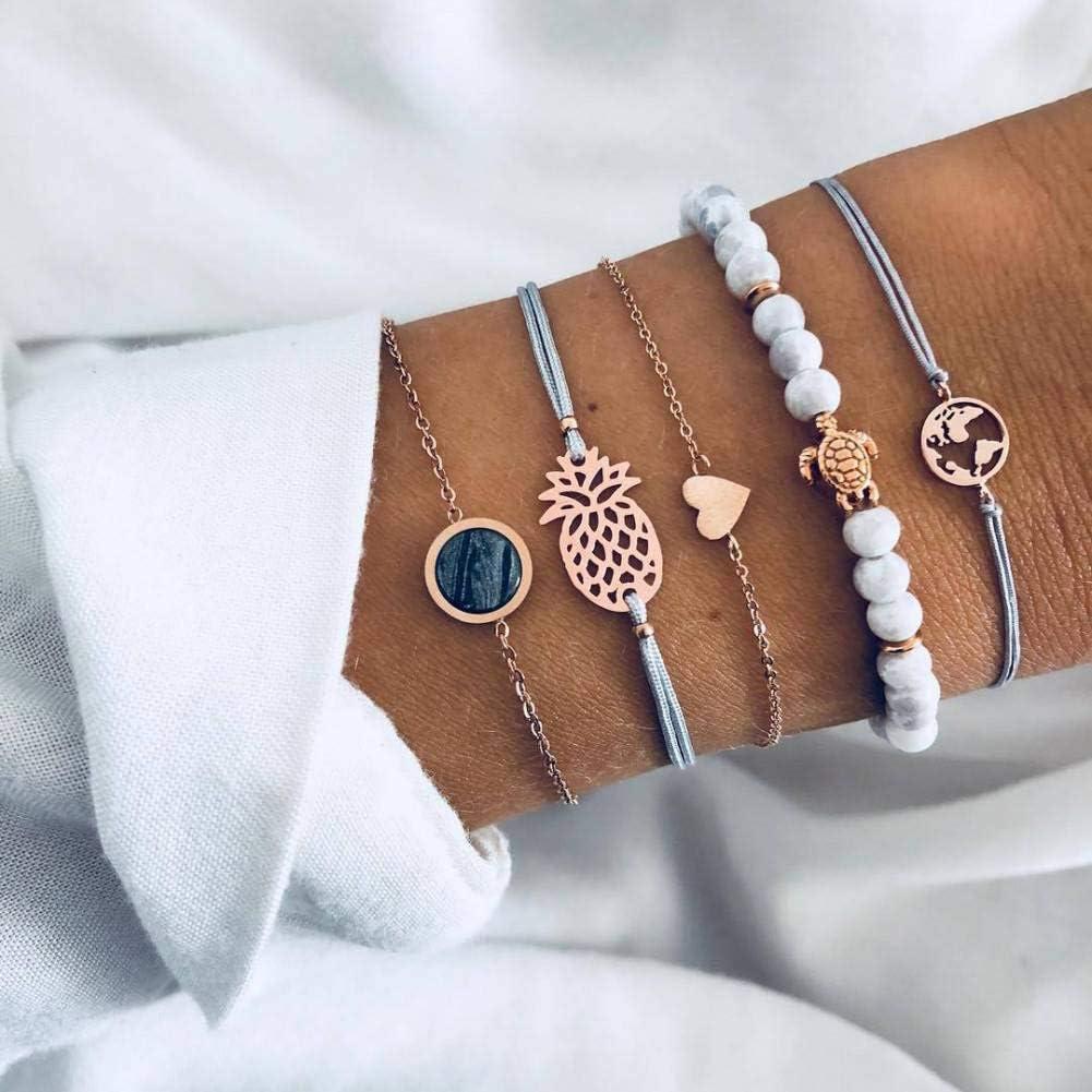 DAIDAISL 30 Styles Mix Turtle Heart Pearl Wave Love Crystal Marble Charm Bracelets For Women Boho Tassel Bracelet Jewelry