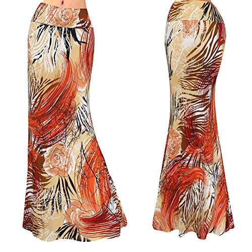 Multicolored Maxi Womens Multi57 Two Damask Tone Printed Aisa Skirt afSqw5x