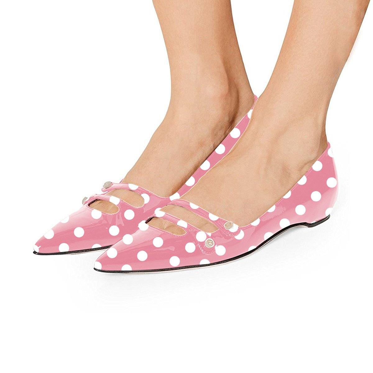YDN Women Pointed Toe Slip on Flats Hidden Low Heels Pumps Comfort Shoes with Straps B07F8716KJ 4 M US|Pink Polka Dots