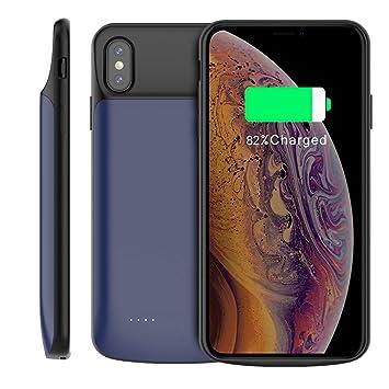 Funda Bateria iPhone XS MAX, 6000mAh Recargable Externa Portátil Batería Cargador Pack Power Bank Integrada Recargable Backup Extra de Batería Carcasa ...
