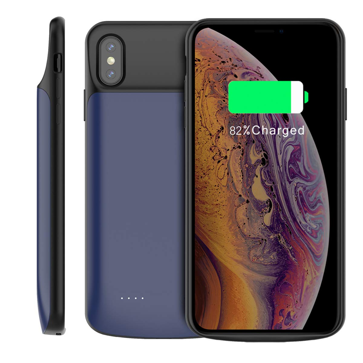 Casemall iPhone Xs Max 6000mAh Battery Case Portable Extended iPhone Xs Max 6000mAh Charging Case Skin Battery Juice Bank (Blue)