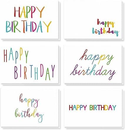 Best Paper Greetings feliz cumpleaños (48-pack) - tarjeta de cumpleaños paquete de la variedad - 6 fuentes único del arco iris - blanco en el interior, sobres incluidos - 10 x 15 centímetros: Amazon.es: Oficina y papelería