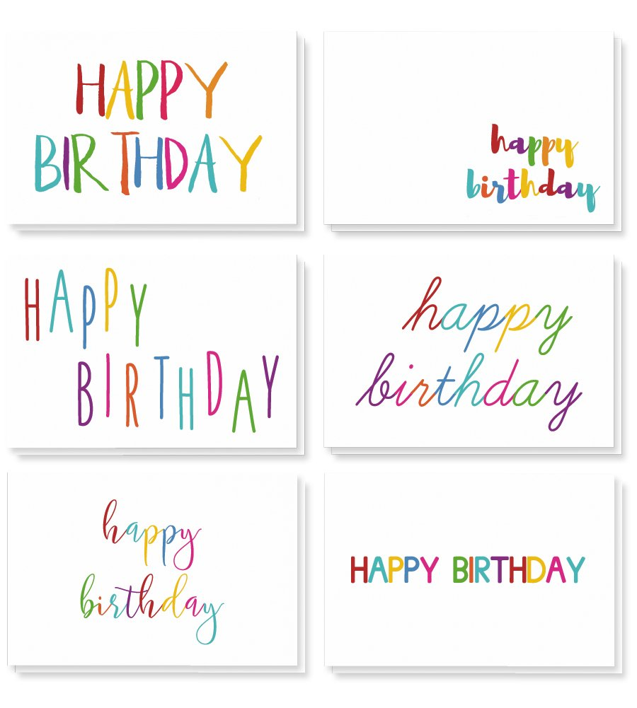 48 Happy Birthday Cards Bulk Assortment – 6 Unique Colorful Rainbow Font Designs 4 x 6 Inches Includes 48 Envelopes Juvale 51656