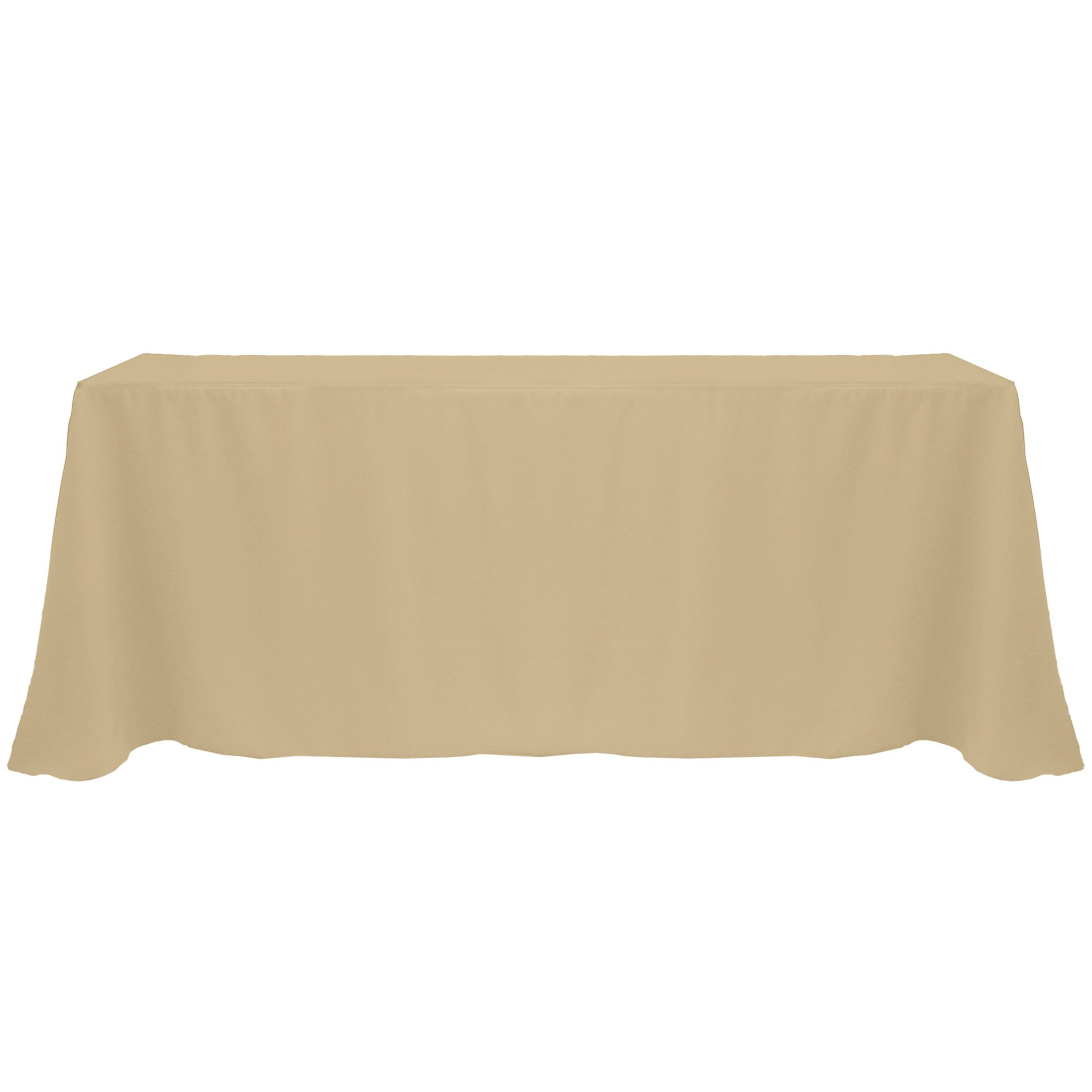 Ultimate Textile (10 Pack) 90 x 132-Inch Rectangular Polyester Linen Tablecloth with Rounded Corners - for Wedding, Restaurant or Banquet use, Camel Light Brown by Ultimate Textile
