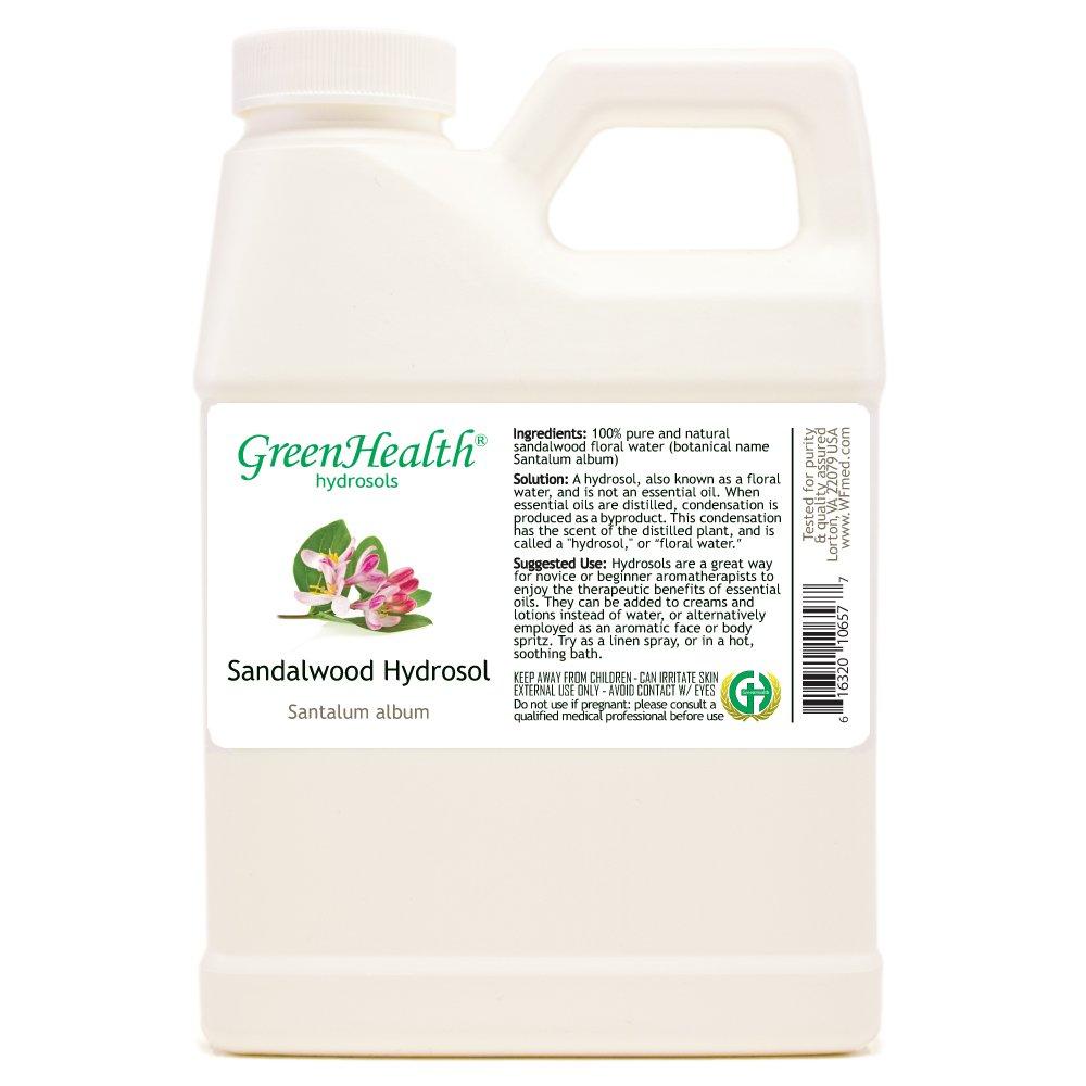 Sandalwood Hydrosol (Floral Water) - 16 fl oz Plastic Jug w/Cap by GreenHealth
