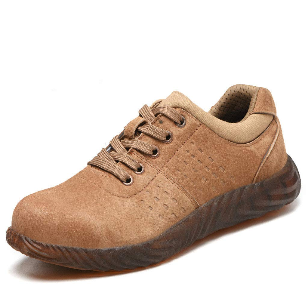 Veodhekai Men Boots Hiking Breathable Trainers Boots Safety Steel Toe Cap Work Flats Shoes Khaki
