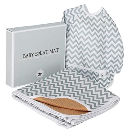 Llama Design Splash Mat Baby Feeding Set 51 Inch Washable Anti Slip Extra Large Baby Splat Mat for Under High Chair Floor Mat + Baby Bib with Sleeves Waterproof Floor Mat