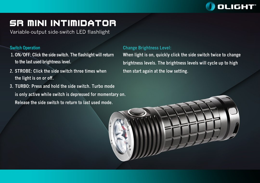 Olight SR Mini Intimidator 2800 Lumens Cree XM-L2 LED Flashlight with 3x Olight 3400mAh 18650, Holster and Bright Lumentac Keychain Light - - Amazon.com