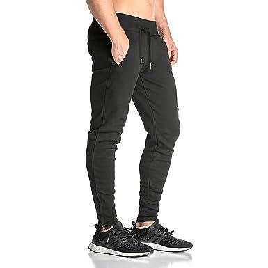 6b0a0897 BROKIG Mens Zip Gym Joggers Sweatpants Tracksuit Jogging Bottoms Running  Trousers Pockets (S, Black