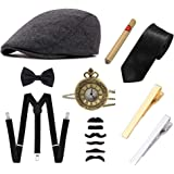 Ziyoot Men's 1920s Accessories Gatsby Gangster Costume Set - - One Size fits Most.