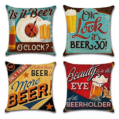 Cotton Linen Throw Pillow Case U-LOVE Square Decorative Cushion Cover with Beer Pattern 18 X 18 Inch Pillow covers,4 pack ()