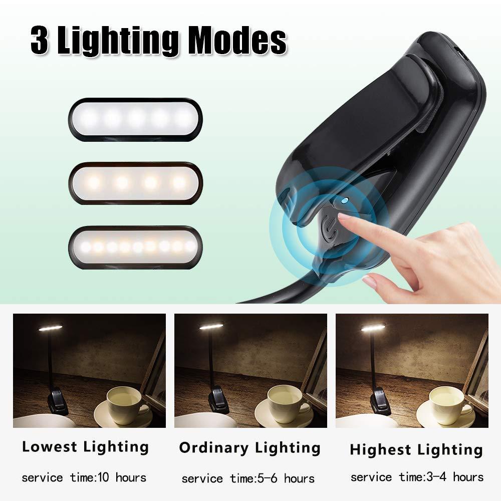 LED Leselampe Klemmleuchte SOLMORE 9LEDs Touch-Dimmer Buchlampe Tischleuchte Schreibtischlampe 360/°Flexibel USB aufladbare f/ür Kinder Nacht Lesen Notenst/änder Schlafzimmer