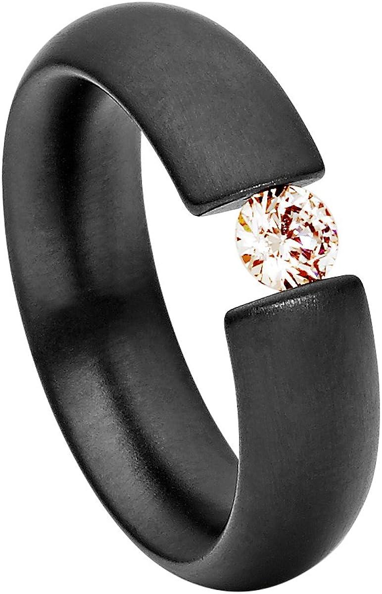 Anillo Heideman Mujer Acero Inoxidable Intensio Color Negro Mate Anillo para Mujer con Piedra Swarovski Zirconia Blanco/Color Brillante Corte 4mm