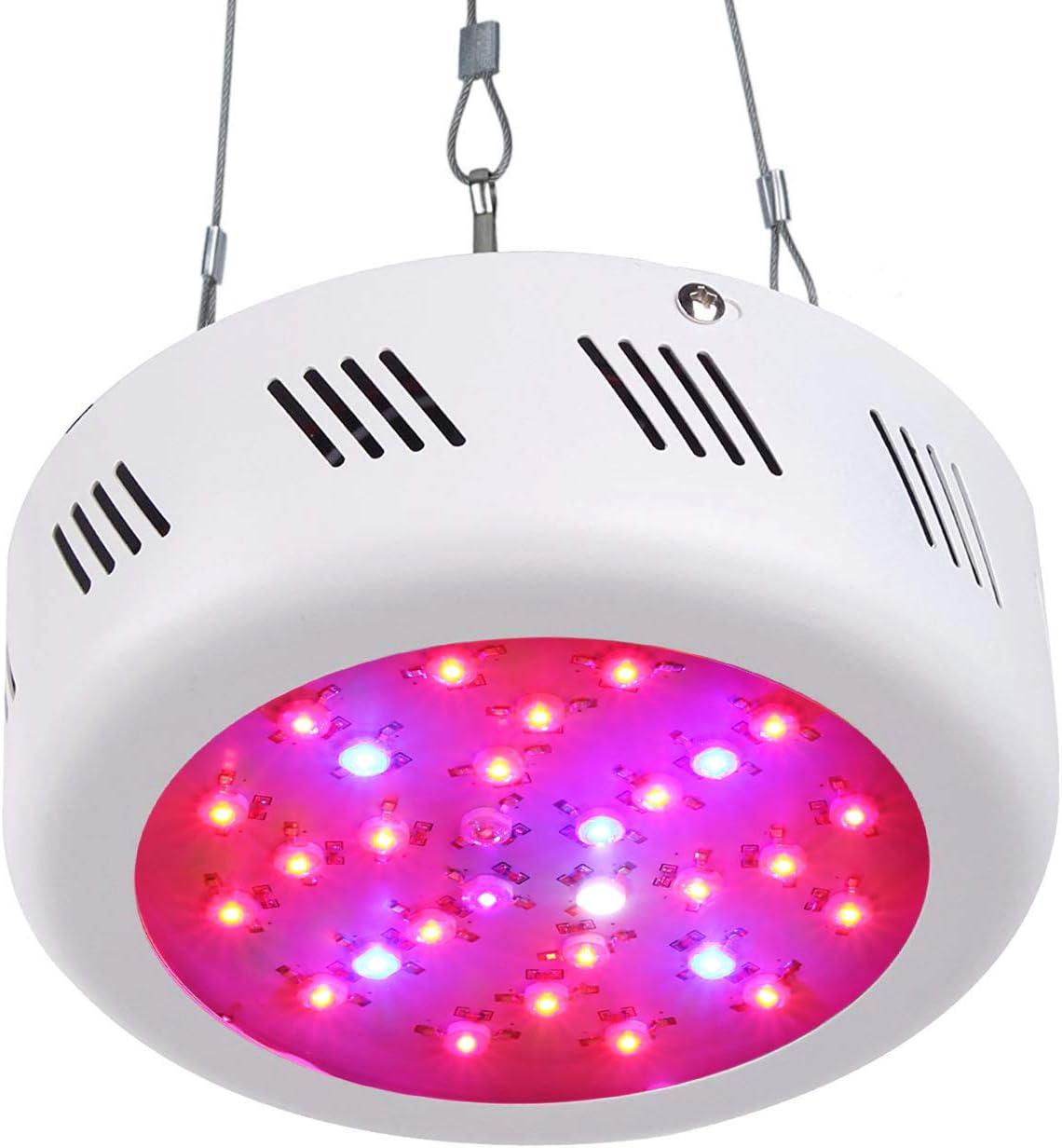 Roleadro LED Cultivo Interior 300W UFO Luces Led Grow Lampara Led Cultivo para Plantas Floración Cultivo Interior Con luz UV UV y luz blanca 10000K