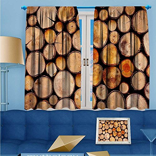 SCOCICI1588 Solid Rod Pocket top Thermal Insulated Window Blackout Curtains Neatly stacked wood for Dining Room W104'' x L63'' Pair by SCOCICI1588 (Image #7)