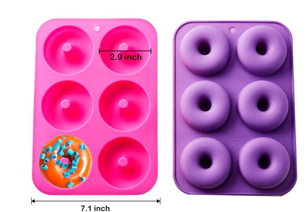 Kisweet 2-Pack Donut Baking Pan Non-Stick Donut Molds 6-Cavity Bake Tray by Kisweet (Image #6)