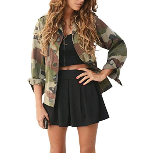 1de0521ac1ed1 Baigoods Handsome Jackets Women Camouflage Jacket Coat Autumn Winter Street  Jacket Women Casual at Amazon Women s Clothing store