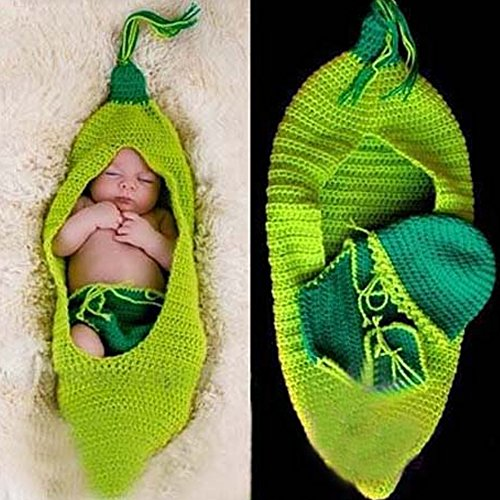 yazi Green Pea Pod Newborn Baby Girls Boys Costume Crochet Knit Photography Props Cute Suit Outfits