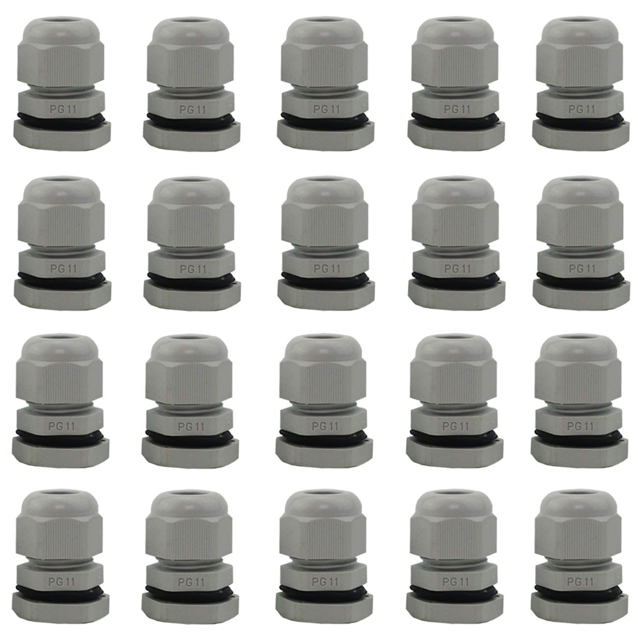 PG13.5 Ogrmar 20 Pieces Nylon Plastic Waterproof Adjustable 6-12mm Cable Gland Joints PG13.5