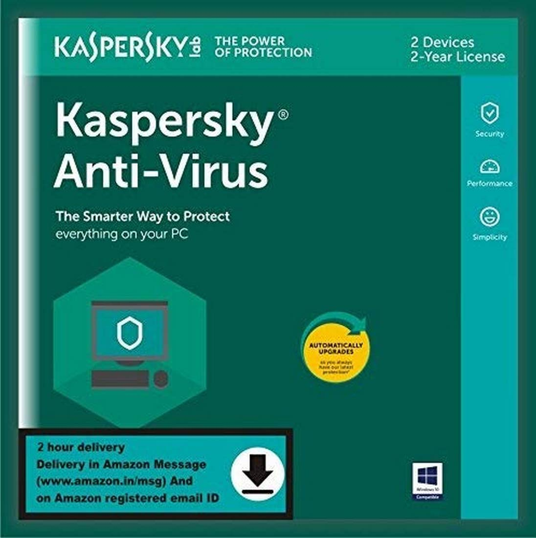 Kaspersky Anti-Virus 2020 Latest Version - 2 Users, 2 Years (Single Key) (Code emailed in 2 Hours - No CD): Amazon.in: Software