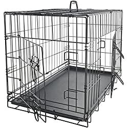 "Paws & Pals 48"" XXL Dog Crate Double-Door Folding Metal - Wire Cage w/Divider & Tray for Training Pets - 48"" x 29"" x 32"""