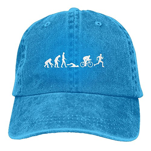 Richard Male Evolution Triathlon Unisex Cotton Washed Denim Travel Cap Adjustable - Athletes Triathlon British