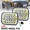 2Pcs 5x7 7x6 Led Headlights with Angel Eyes Hi/Lo Beam for Jeep Wrangler YJ Cherokee XJ Trucks 4x4 Offroad Replacement H6054 H5054 H6054LL 69822 6052 6053