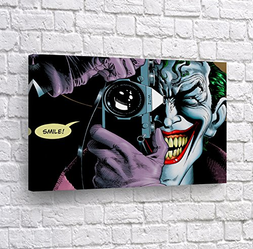 Batman The Killing Joke - Joker Smile Quote Comics Old School HA Canvas Print Taking Picture Wall Art Home Decor Poster Artwork Framed Stretched- Ready to Hang -%100 Handmade in The USA - 8x12
