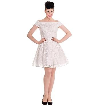Hell Bunny 50s Pin up Party Mini Dress Paris Bardot Ivory White XXS 6
