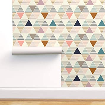 Removable Water-Activated Wallpaper Geometric Triangles Triangle Black White