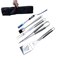 BBQ Tools Set - 6 Piece Grilling Tools, Heavy Duty Stainless Steel Barbecue Grill Utensils with Storage Bag - Spatula, Tongs, Fork, Basting Brush, Barbecue Apron and Meat Thermometer