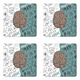 Ambesonne Modern Coaster Set of Four, Brain Image