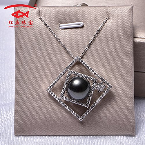 Generic 13-14_redfish_ jewelry perfect circle _glare_mirror_sea_ 925 silver pendant necklace _Tahitian_ black pearl necklace pendant women -