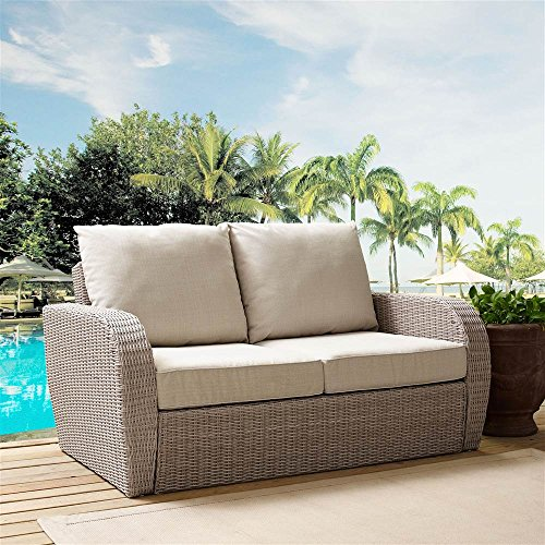 Seat Cushions Oatmeal (Crosley Furniture Outdoor Wicker Loveseat with Universal Oatmeal Cushion)