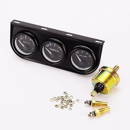 Manómetro 3 en 1 (temperatura del aceite, temperatura del agua, presión del aceite), con sensor, para coche o camión