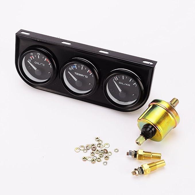 Manómetro 3 en 1 (temperatura del aceite, temperatura del agua, presión del aceite), con sensor, para coche o camión: Amazon.es: Coche y moto