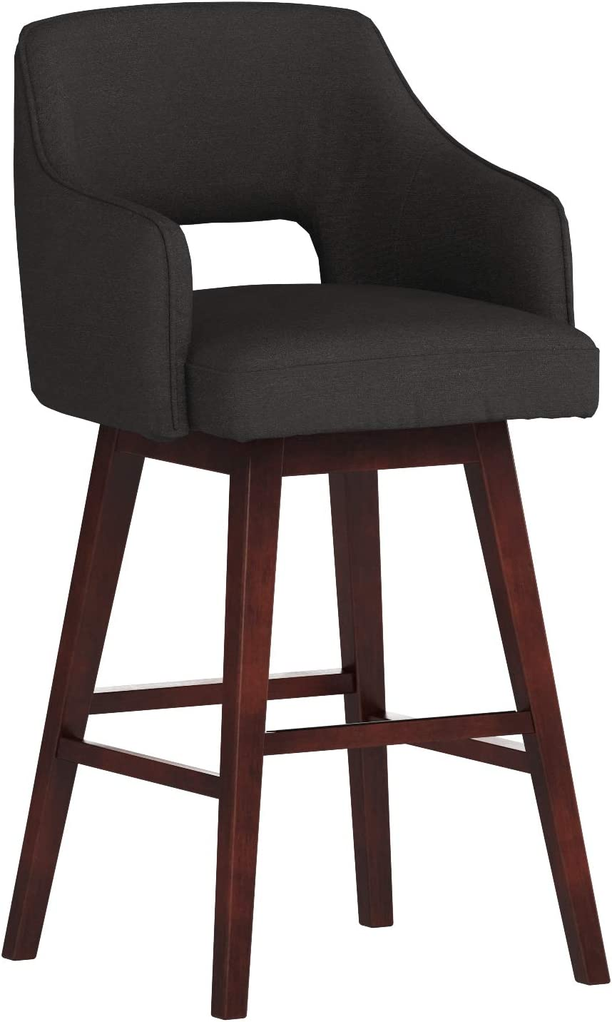 Rivet Malida Mid-Century Modern Open Back Swivel Padded Kitchen Bar Stool with Arms, 41 Inch Height, Charcoal Black, Wood