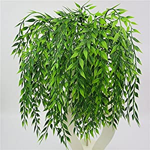 3 Bouquets Realistic Artificial Plants Fake Weeping Willow Artificial Plastic Shrubs for Outdoors Home Table Kitchen Office Wedding Garden Grave Decorations 2