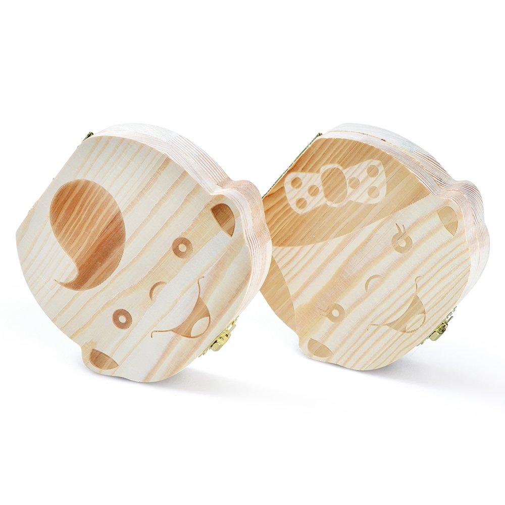 StarsTech Cute Baby Teeth Box Wooden Milk Teeth Case Baby Shower Gift Boy Girl Types (boy&girl)