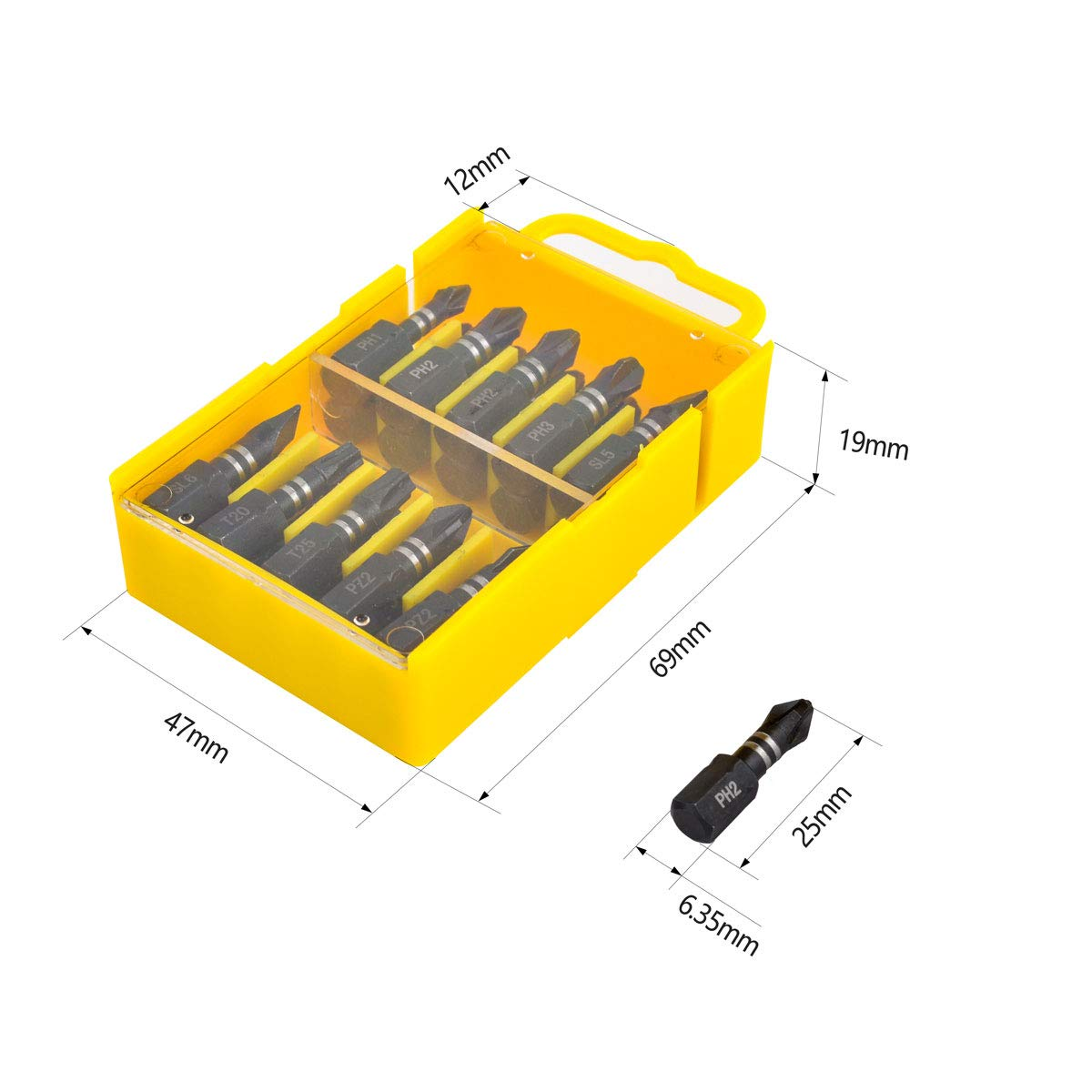 Gunpla 20 Pieces Impact Screwdriver Bits Set Single Ended Heavy Duty Screwdriving Bit Driver Repair Tool Kit for Phillips Torx Pozidriv Slotted Head Screw Drivers with Storage Case