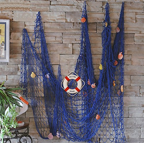 Decorative Fish Net with Bonus Lifebuoy and Seashells, Mediterranean Style Nautical Decor, Blue, 6'7