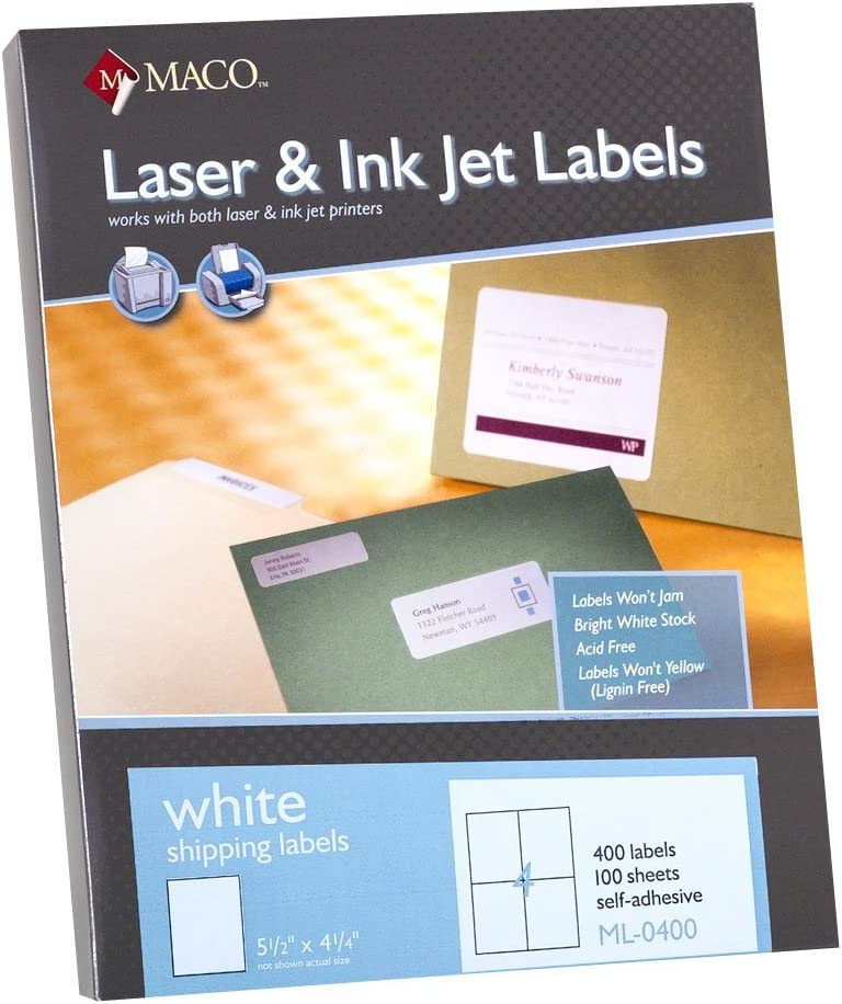 MACO Laser/Ink Jet White Shipping Labels, 5-1/2 x 4-1/4 Inches, 4 Per Sheet, 400 Per Box (ML-0400): Office Products