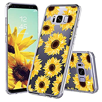 more photos 03bcd e5d30 MOSNOVO Galaxy S8 Case, Galaxy S8 Case for Women, Floral Flower Sunflower  Clear Design Transparent Plastic Hard Back Case with Soft TPU Bumper ...